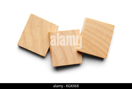Three Wood Tiles with Copy Space Isolated on a White Background. - Stock Photo