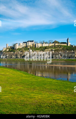 Chinon town and chateau on the banks of the Vienne river on a sunny spring morning, Indre-et-Loire, France - Stock Photo