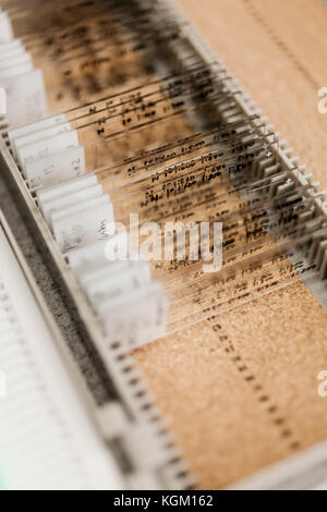 Various medical samples on microscope slides in box at laboratory - Stock Photo