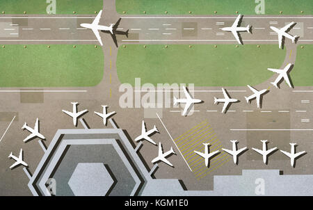 Illustration of airplanes on runway at airport - Stock Photo