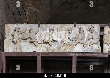 ROMA, ITALY - 01 OCTOBER 2017: Colosseum, Coliseum or Coloseo, the relief of Lusius Storax. - Stock Photo