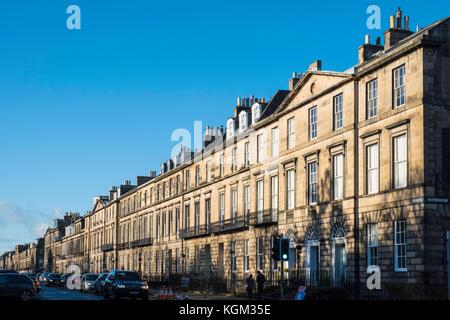 Row of Georgian terraced townhouses on Heriot Row in Edinburgh New Town,  Scotland, United Kingdom. - Stock Photo