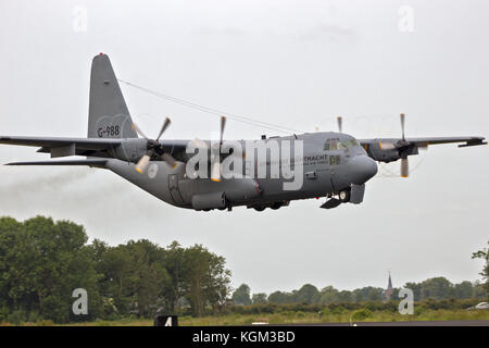 LEEUWARDEN, THE NETHERLANDS - JUN 10, 2016: Royal Netherlands Air Force Lockheed C-130H Hercules transport plane - Stock Photo