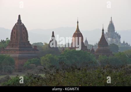 Ancient Pagodas in Bagan Myanmar - Stock Photo
