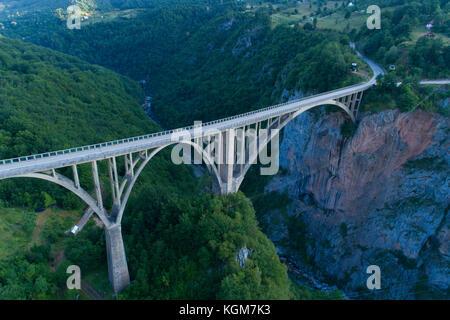 aerial view of Durdevica Bridge over Tara Canyon - Stock Photo