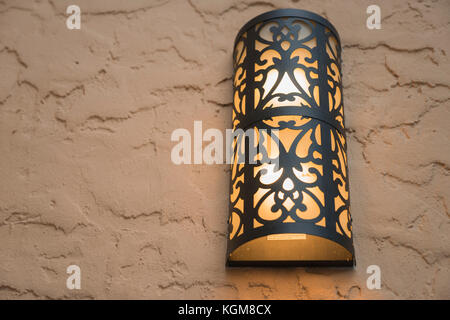 Yellow And Black Vintage Metal Lamp Outside - Stock Photo