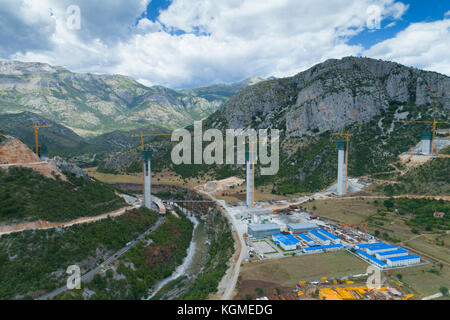 Construction of bridge columns of a new highway through the Moraca canyon in Montenegro - Stock Photo