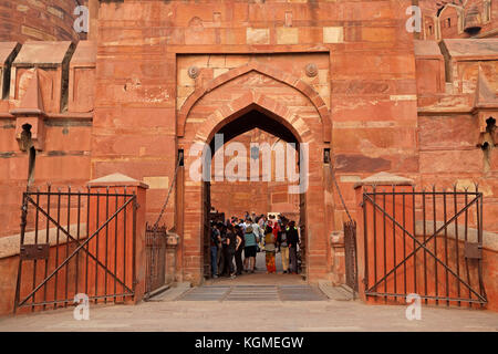 Agra, India - November 29, 2015: Entrance to the historical Red Fort of Agra - a UNESCO world heritage site - with - Stock Photo