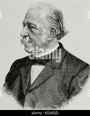 Theodor Fontane (1819-1898). German writer. Portrait. Engraving. - Stock Photo