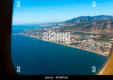 Aerial view of Torremolinos from a passenger plane. Malaga province. Costa del Sol, Andalusia. Southern Spain Europe - Stock Photo