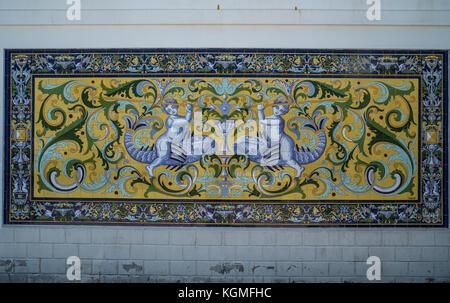 Decorative ceramic tiles of Fabrica de Hielo building in Sanlúcar de Barrameda, Andalusia, Spain - Stock Photo