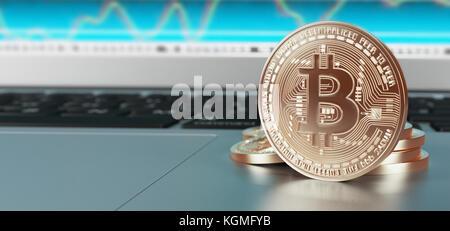 Bitcoins, gold money for web, 3d illustration - Stock Photo