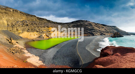 Green Lagoon, Lago de los Clicos. Beach, El Golfo. Lanzarote Island. Canary Islands Spain. Europe - Stock Photo