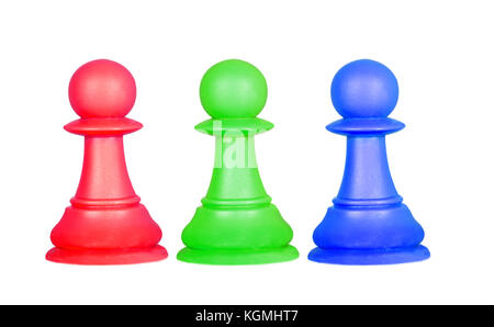 The color pawns, chess pieces isolated on a white background - Stock Photo