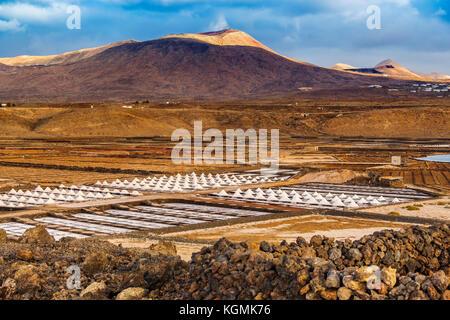 Saltworks. Salinas de Janubio. Lanzarote Island. Canary Islands Spain. Europe - Stock Photo