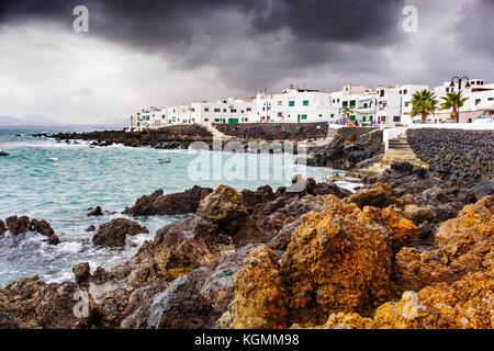 Fishing village, Punta Mujeres, Haria. Lanzarote Island. Canary Islands Spain. Europe - Stock Photo