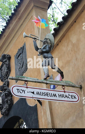 Toy museum sign in Prague old town, Czech Republic, 2. may 2011 - Stock Photo