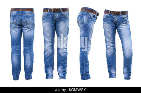 Jeans , blue jeans  on white background - Stock Photo
