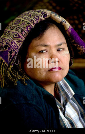 A serious Burmese posses for a portrait in Bagan Myanmar - Stock Photo