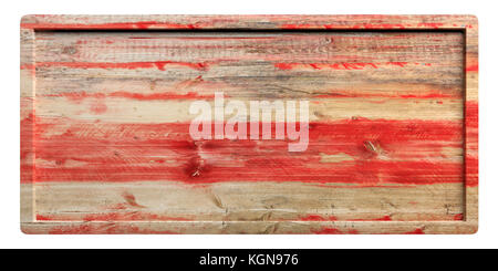 Wooden red signboard with frame isolated on white background. 3d illustration - Stock Photo