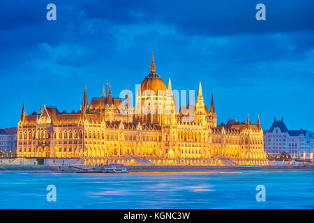 Evening view at Hungarian Parliament building, Budapest, Hungary - Stock Photo