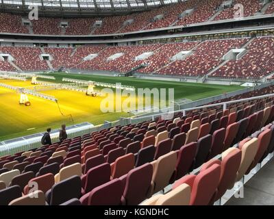 A view of the Luzhniki Stadium in Moscow, Russia, 28 August 2017. The Luzhniki is the most important stadium of - Stock Photo