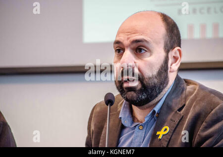 Barcelona, Catalonia, Spain. 9th Nov, 2017. mnium Cultural leader Marcel Mauri seen at the press conference to offer - Stock Photo