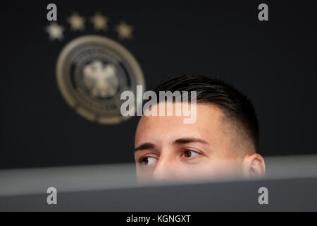Berlin, Germany. 9th Nov, 2017. Sandro Wagner speaks at a press conference of the German national soccer squad in - Stock Photo