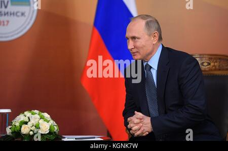 Chelyabinsk, Russia. 09th Nov, 2017. Russian President Vladimir Putin during a bilateral meeting with Kazakhstan - Stock Photo