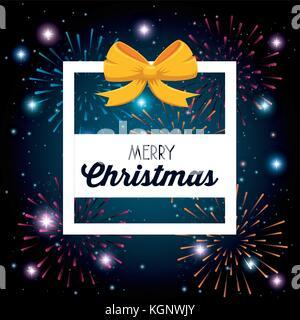 merry christmas sparkling fireworks vector illustration graphic design - Stock Photo