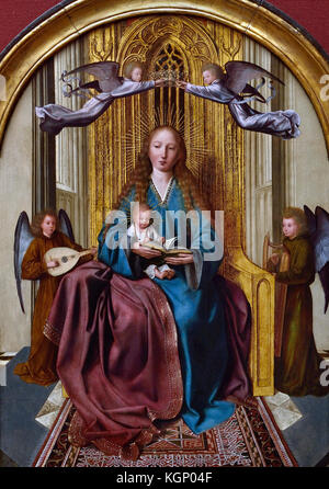 The Virgin and Child Enthroned, with Four angels 1506  by Quinten Massys (1466 - 1530) Flemish Belgian Belgium - Stock Photo