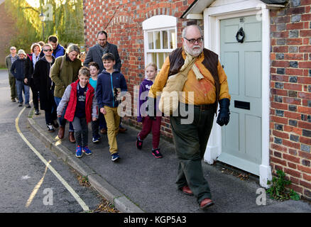 People taking part in a Halloween Ghost Walk led by Henry the Rat Catcher, Alton, Hampshire, UK. Sunday 29th October - Stock Photo