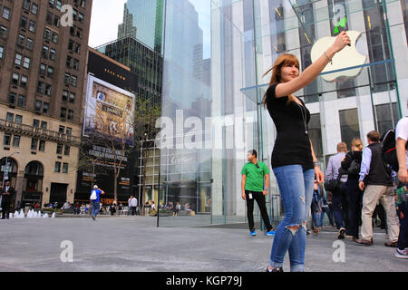 Flagship Apple Store on 5th Avenue in New York - Stock Photo