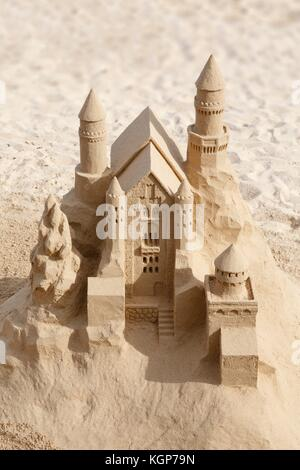 Artistic sandcastle art on a beach in Fuerteventura, Canary Islands - Stock Photo