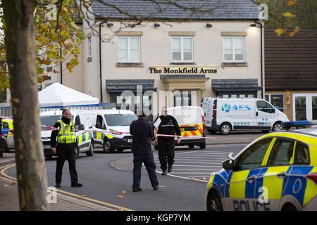 Police at the scene of a double stabbing which left one man dead in the village of Cambourne,Cambs,on Saturday morning - Stock Photo