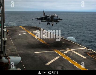 A U.S. Marine Corps AV-8B Harrier with Marine Medium Tiltrotor Squadron (VMM) 162 (REIN), 26th Marine Expeditionary - Stock Photo