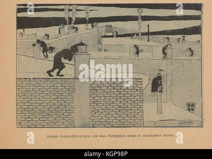 Cartoon from the Russian satirical journal Maski (Masks) depicting people, likely government agents, on rooftops - Stock Photo