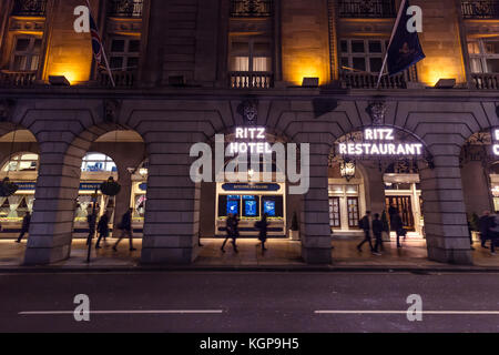 The Ritz Hotel at night in Mayfair London - Stock Photo
