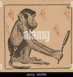 Illustration from the Russian satirical journal Maski (Masks) depicting a monkey with a human head wearing a sash - Stock Photo