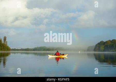 Kayaking on Loch Ken, Dumfries & Galloway, Scotland - Stock Photo