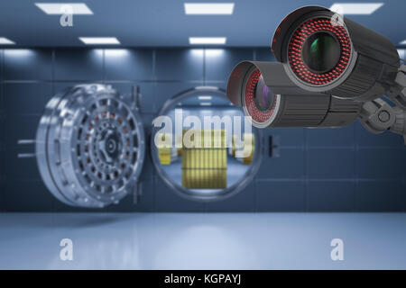 3d rendering security camera or cctv camera in bank vault - Stock Photo