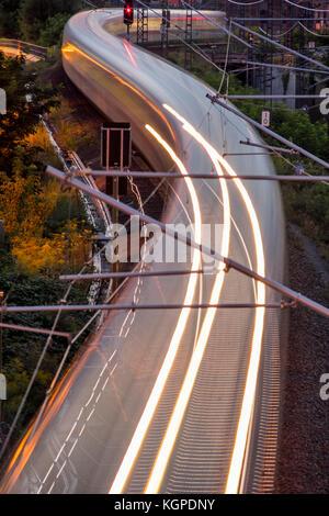 A passenger train runs through Berlin to its destination, Berlin 2017. - Stock Photo