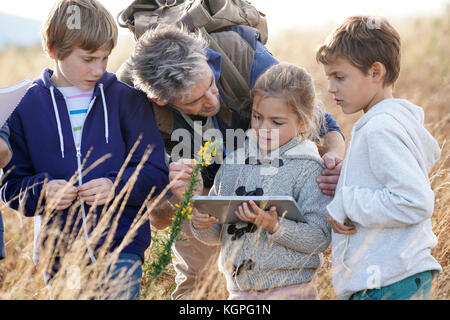 Teacher taking kids to countryside to explore plants and flowers - Stock Photo