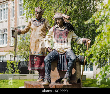 Dave McGary's statue/sculpture of 'The Emergence of the Chief' taken on the grounds of Concordia University in N.D.G., - Stock Photo