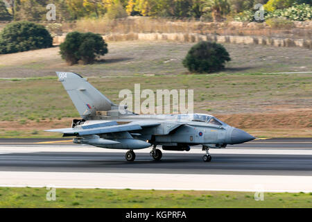 Royal Air Force Panavia Tornado GR4 [ZA370] touching down runway 31. - Stock Photo