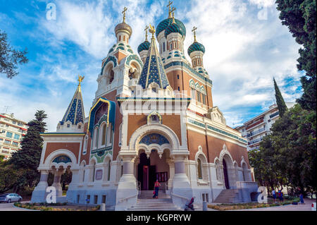 Europe. France. Alpes-Maritimes (06) Nice. The Russian Orthodox Cathedral Saint Nicolas (opened in 1912) - Stock Photo