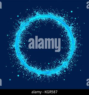 Azure circles on dark background. Abstract rings with motion effect. Swirl trail effect. - Stock Photo