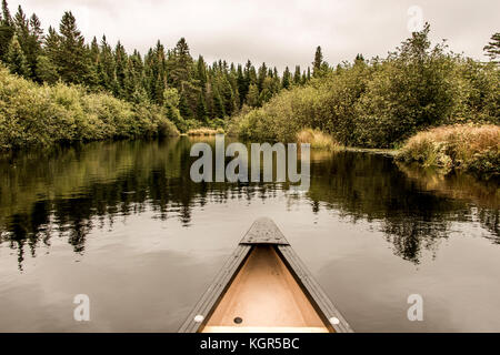 Yellow Canoe Nose on Calm Peaceful Quite Lake in Algonquin Park, Ontario Canada with Tree Reflection Shoreline Pine - Stock Photo