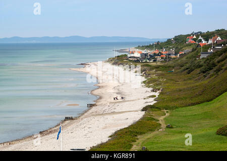 View over Rageleje Strand beach with Swedish coastline in distance, Rageleje, Kattegat Coast, Zealand, Denmark, - Stock Photo