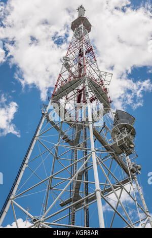 TV tower on a Castle Hill, highest structure in Lviv city, largest city in western Ukraine - Stock Photo